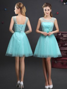 Customized Tulle Scoop Sleeveless Lace Up Beading and Lace and Appliques and Belt Dama Dress for Quinceanera in Aqua Blue