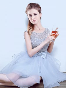 Perfect Scoop Organza Cap Sleeves Asymmetrical Quinceanera Court Dresses and Lace and Ruffles and Bowknot