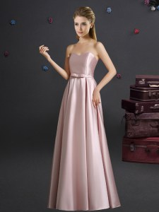 Pink Elastic Woven Satin Zipper Vestidos de Damas Sleeveless Floor Length Bowknot