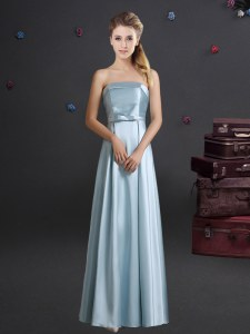Custom Design Elastic Woven Satin Strapless Sleeveless Zipper Bowknot Dama Dress in Light Blue