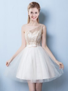 Champagne Lace Up One Shoulder Sequins and Bowknot Dama Dress for Quinceanera Tulle Sleeveless