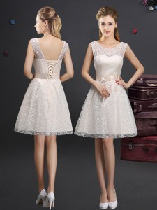 Inexpensive Scoop Champagne Sleeveless Lace and Appliques Knee Length Damas Dress