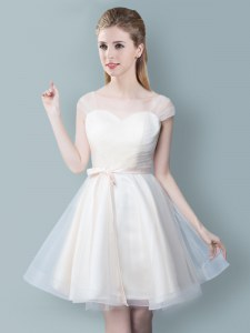 Trendy Straps Cap Sleeves Zipper Knee Length Ruching and Bowknot Bridesmaid Dress