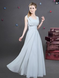 Elegant Square Grey Sleeveless Floor Length Ruching Zipper Dama Dress