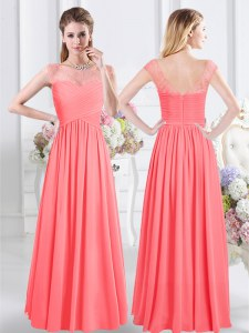 Sophisticated Watermelon Red Scoop Zipper Lace and Ruching Quinceanera Dama Dress Cap Sleeves
