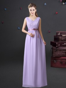 Lace and Belt Dama Dress Lavender Lace Up Sleeveless Floor Length
