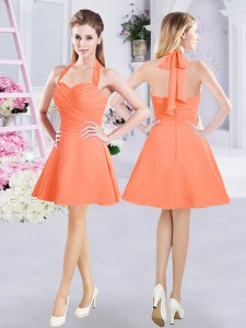 High End Halter Top Sleeveless Chiffon Mini Length Zipper Dama Dress in Orange with Ruching