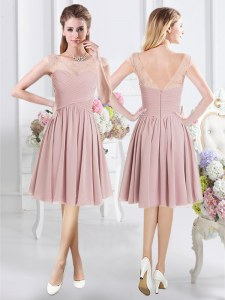 Colorful Scoop Pink Cap Sleeves Lace and Ruching Knee Length Bridesmaids Dress