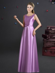 Great Lilac Empire Elastic Woven Satin Straps Sleeveless Bowknot Floor Length Zipper Damas Dress