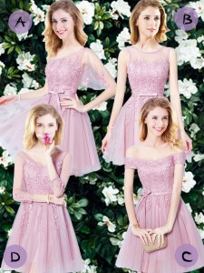 Pink Tulle Lace Up Dama Dress for Quinceanera Sleeveless Mini Length Appliques and Belt
