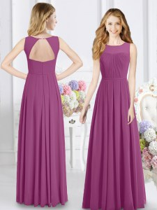 Scoop Sleeveless Chiffon Floor Length Zipper Bridesmaid Gown in Fuchsia with Ruching