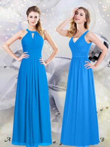 Shining Halter Top Chiffon Sleeveless Floor Length Bridesmaids Dress and Ruching