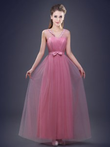 Dynamic Pink Sleeveless Appliques and Ruching and Bowknot Floor Length Damas Dress