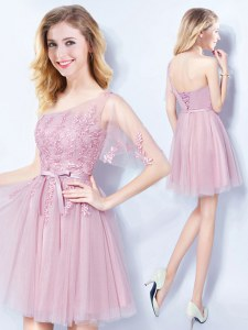 Ideal Mini Length Pink Dama Dress One Shoulder Sleeveless Lace Up