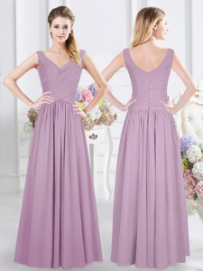 Lavender Empire Ruching Bridesmaid Dress Zipper Chiffon Sleeveless Floor Length