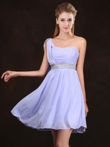 Lavender One Shoulder Neckline Sequins and Ruching Bridesmaids Dress Sleeveless Zipper