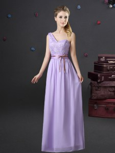 Cheap One Shoulder Floor Length Lace Up Court Dresses for Sweet 16 Lavender for Prom and Party and Wedding Party with Lace and Appliques and Belt