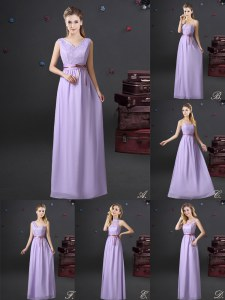 V-neck Sleeveless Dama Dress Floor Length Lace and Appliques and Belt Lavender Chiffon