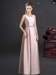 Top Selling Square Floor Length Pink Vestidos de Damas Elastic Woven Satin Sleeveless Bowknot