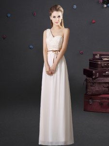 Stylish One Shoulder Sleeveless Lace and Appliques and Belt Lace Up Dama Dress