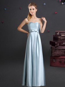 Light Blue Elastic Woven Satin Zipper Dama Dress Sleeveless Floor Length Bowknot