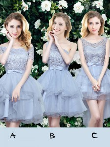Off the Shoulder Organza Sleeveless Mini Length Bridesmaid Dress and Lace and Ruffles and Belt