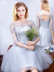 Scoop Knee Length Grey Damas Dress Tulle Half Sleeves Lace and Appliques and Belt