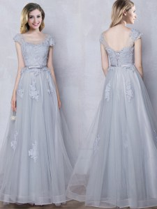 Grey Scoop Neckline Lace and Appliques and Belt Court Dresses for Sweet 16 Cap Sleeves Lace Up