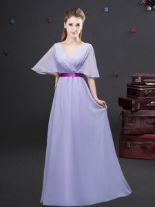 Floor Length Empire Half Sleeves Lavender Bridesmaid Gown Zipper