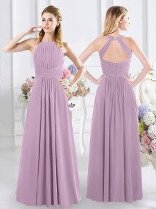 Extravagant Halter Top Ruching Wedding Guest Dresses Lavender Zipper Sleeveless Floor Length