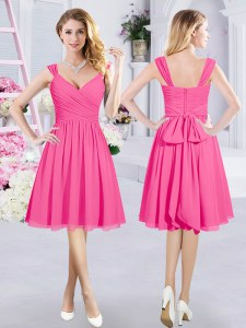 Enchanting Straps Sleeveless Quinceanera Dama Dress Knee Length Ruching and Belt Hot Pink Chiffon
