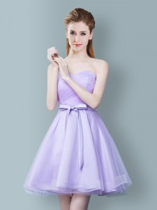 Free and Easy Lavender Dama Dress for Quinceanera Prom and Party and Wedding Party and For with Ruching and Bowknot Sweetheart Sleeveless Zipper