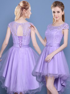 Perfect Scoop Tulle Cap Sleeves High Low Quinceanera Court of Honor Dress and Lace