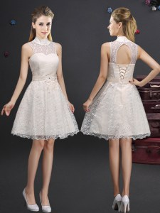 A-line Quinceanera Dama Dress Champagne High-neck Lace Sleeveless Knee Length Lace Up