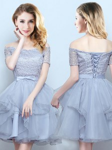 On Sale Mini Length Grey Quinceanera Dama Dress Off The Shoulder Short Sleeves Lace Up