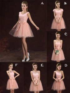 Colorful Mini Length A-line Sleeveless Peach Quinceanera Court Dresses Lace Up