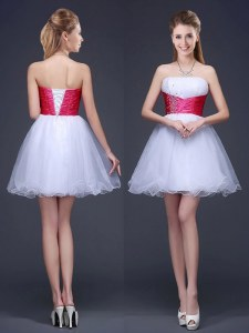 White Organza Lace Up Wedding Guest Dresses Sleeveless Mini Length Beading and Ruching and Belt