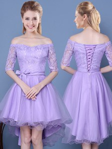 Luxurious Lavender Lace Up Off The Shoulder Lace and Bowknot and Belt Dama Dress Tulle Half Sleeves