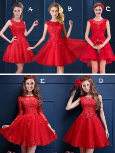 Red Scoop Lace Up Lace and Appliques Quinceanera Dama Dress Sleeveless