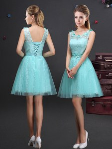 Aqua Blue Scoop Lace Up Lace and Appliques and Belt Quinceanera Dama Dress Sleeveless