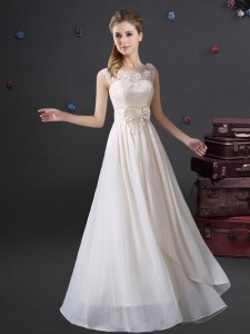 Fantastic Scoop Sleeveless Chiffon Bridesmaid Dress Lace and Appliques and Bowknot Zipper