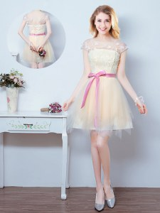Hot Sale Scoop Short Sleeves Lace Up Court Dresses for Sweet 16 Champagne Tulle