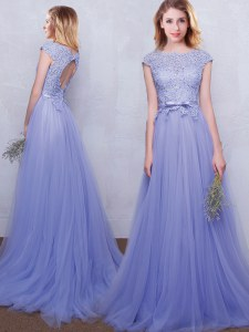 Scoop Lace and Belt Court Dresses for Sweet 16 Lavender Backless Cap Sleeves With Brush Train
