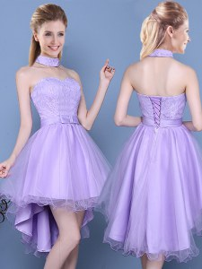 Taffeta and Tulle Sweetheart Sleeveless Lace Up Lace and Bowknot Vestidos de Damas in Lavender