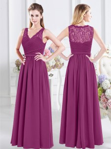 Fuchsia Empire Lace and Ruching Quinceanera Court Dresses Side Zipper Chiffon Sleeveless Floor Length