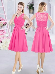 Exquisite Hot Pink Chiffon Side Zipper V-neck Sleeveless Knee Length Dama Dress for Quinceanera Lace and Ruching