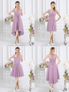 Lavender Zipper Halter Top Ruching Damas Dress Chiffon Sleeveless