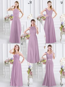 On Sale Lavender Zipper Sweetheart Beading and Ruching Dama Dress Chiffon Cap Sleeves