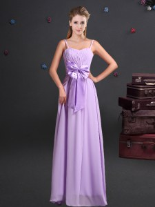 Chiffon Sleeveless Floor Length Quinceanera Dama Dress and Ruching and Bowknot