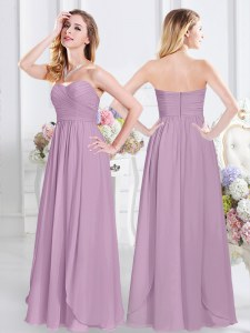 Excellent Sleeveless Chiffon Floor Length Zipper Bridesmaid Dress in Lavender with Ruching